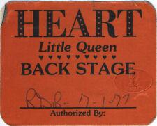 HEART 1977 Little Queen Tour Backstage Pass Ann Nancy Wilson