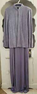 Alex Evenings Dress Size 12 Purple Sparkle 2 Piece Long Formal & Jacket New Tags