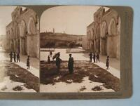 Stereoview Underwood Old Temple Grounds With Olivet Bethany Road Jerusalem (O)