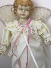 Vintage Angel Doll Christmas Tree Topper Ivory Lace Dress