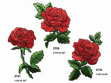 Lot 3Pcs Red Rose Flower Embroidery Iron On Appliqué Patch--3719/3720/3721