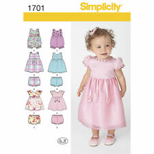 Simplicity SEWING PATTERN 1701 Babies Dress, Romper & Panties XXS-L
