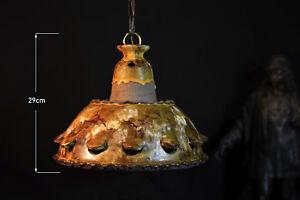 Danish designer 1970s signed ceiling light salt glazed earthenware pottery