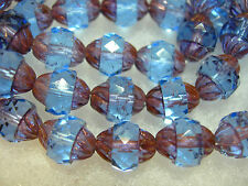 1 10x8mm Czech Glass Faceted Sapphire Blue / Bronze Turbine Beads