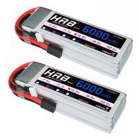 2pcs HRB 14.8V 6000mAh 4S LiPo Battery 50C 100C Traxxas Plug for RC Quad Buggy