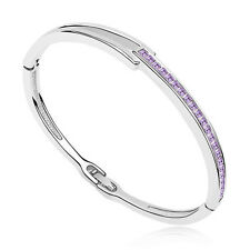 18K White Gold Plated made with Swarovski Crystal Elements Bangle Bracelet .