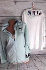 Victoria's Secret PiNK Hoodie Sweatshirt Zip Tropical White Sea Glass Oversized