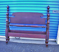 Antique c1905 Mahogany 3/4 Size Bed Original Owner Horsehair Mattress & Sprngs