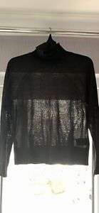 H&M Black Roll Neck Long Sleeve Top Size S