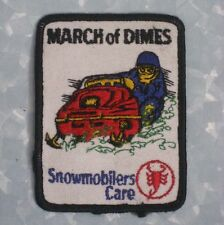 """March of Dimes Patch - Snowmobilers Care - vintage - 3"""" x 4"""""""