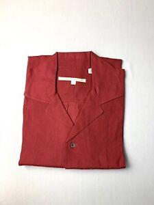 Vintage 80's Perry Ellis Mens Linen Shirt Size M Red Cuban Collar New