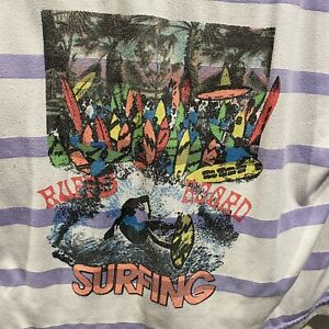 Vintage One Step Up RuffBoards Surfing Striped Tshirt Size Large White Purple