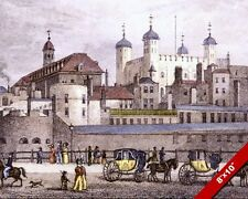 TOWER OF LONDON ENGLAND GREAT BRITAIN HISTORY PAINTING ART REAL CANVAS PRINT