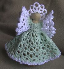 Five Crochet Clothespin Angels - Light Green: handcrafted decorative ornaments
