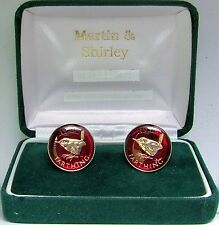 1956 Farthing cufflinks from real coins in RED & Gold
