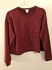 NEW InTu Women's Sweatshirt Top Blouse Burgundy Large