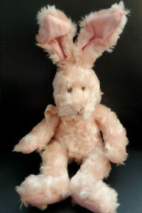"""Russ Berrie """"Mimosa"""" Pink Bunny Rabbit With Poseable Ears Plush - 14"""""""