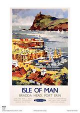 Isla De Man Puerto Erin de estilo vintage y retro Cartel De Viaje ferroviaria arte publicitario