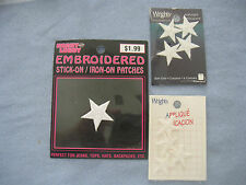 STAR APPLIQUES, SEW-ON OR IRON-ON (2 PACKAGES-4 IN A PACKAGE), 1 EXTRA INCLUDED