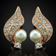 New Rose Gold GP Pearl Clear Crystal Wing Clip-on Unpierced Earrings IE016B
