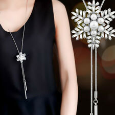 New Fashion Zircon Snowflake Long Necklace Sweater Chain Crystal Pendant Adjust