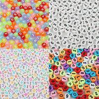 400Pcs DIY For Bracelet  7mm Beads White Letter/ Alphabet Acrylic