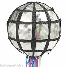 1970's Groovy Shimmer Disco Mirror Ball Pull Children's Pinata Party Game