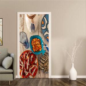 3D Shrimp Fried Fish Dishes Door Sticker Self-Adhesive Bedroom Door Murals Decor