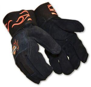 Ladies Harley Davidson Kevlar Lined Heavy Duty Leather Gloves Orange Flame Cuff