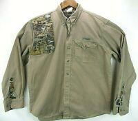 LAPCO Khaki Button Front Shooting Hunting Shirt Camo Mens L Crown Castle