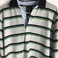 Brooks Brothers Striped Long Sleeve Polo Shirt Mens Size XL Gray