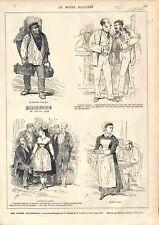 Paris Marchand d'Asperge Agent d'Artiste Bouillon Duval GRAVURE OLD PRINT 1874