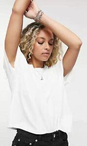 Topshop Women's Cotton Crewneck Short Sleeve Weekend TShirt White Small Size 4-6