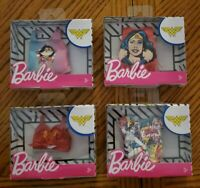 BARBIE Mattel WONDER WOMAN DC Comics Set of 4 Accessory Doll Fashion Shirt Packs
