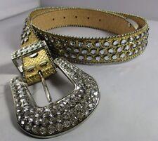 Belt XL Gold Leather Rhinestone Cluster Belt Silver Buckle Western NWT T211