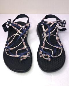 Chaco Women's Sport Sandals adjustable Three Strap White/Red/BlueWomen's US 10