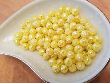 Vintage Rosebud Lemon Yellow AB Luster Plastic Lucite Beads 8mm 144 pc pack