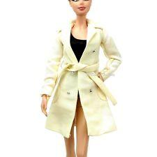 Barbie Fashion Long Cream Jacket Coat Waist Belt Cynthia Rowley New