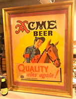 1930's Kentucky Derby Horse Race Acme Cardboard Beer Sign San Francisco