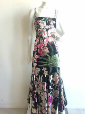 JUST CAVALLI ROBERTO CAVALLI SILK FLORAL PRINT MAXI DRESS GOWN  IT38 US 2 $1195
