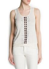 LADIES BEIGE CREAM FINE KNIT SLEEVELESS JUMPER WITH BEADING DETAIL FROM MANGO
