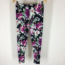 Agnes & Dora Women's leggings black pink floral size small medium