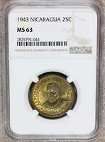 1943 Nicaragua 25 Centavos Brass Coin - NGC MS 63 - KM# 23