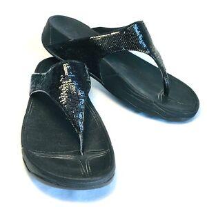FitFlop Electra Sandals Sequins Thong Women 8 Black Comfort 034-001 Bling