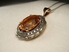 Magnificent Estate Antique 14K Pink Rose Gold Diamond Citrine Filigree Pendant