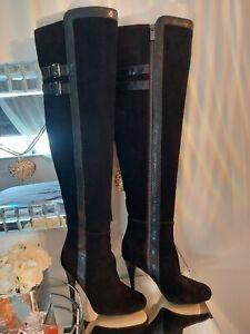 MICHAEL KORS Delaney Black Suede Knee High Length / Boots Size EU 35 UK 2.5