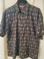 Tori Richard Hawaiian Shirt - Men's XL Honolulu Cotton Lawn Palms Short Sleeve