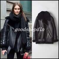 Real Fur Leather Shearling Bomber Coat Parka Women's Oversize Warm Biker Jackets