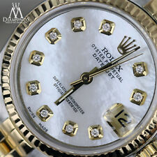 18K Gold & SS Rolex Datejust 31mm White Mother Of Pearl Diamond Accent Dial