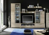 NEW Modern light wood  Entertainment center, tv stand, glass cabinet